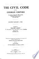 The Civil Code Of The German Empire
