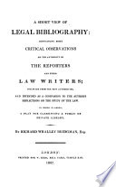 A Short View Of Legal Bibliography