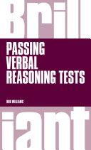 Brilliant Passing Verbal Reasoning Tests
