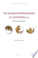 The Interpersonal Metafunction In 1 Corinthians 1 4