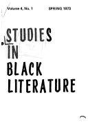 Studies In Black Literature Book