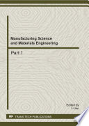 Manufacturing Science and Materials Engineering