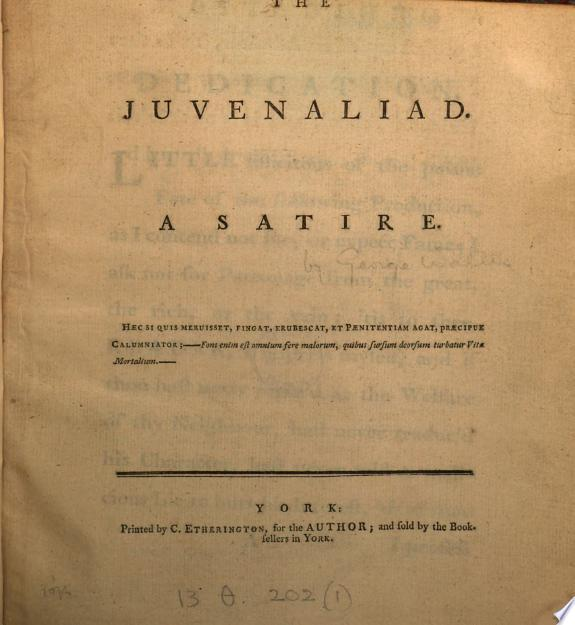 The Juvenaliad  a satire  by G  Wallis