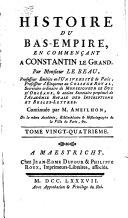 Histoire du Bas-Empire, en commençant à Constantin le Grand