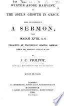 Winter afore Harvest     A sermon     Second thousand Book