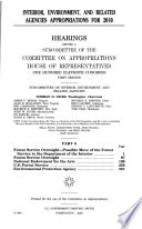 Interior  Environment  and Related Agencies Appropriations for 2010  Part 6  2009  111 1 Hearings    Book