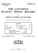 The Canadian Patent Office Record and Register of Copyrights ...