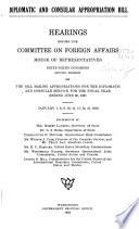 Diplomatic and Consular Appropriation Bill Book