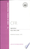 Code Of Federal Regulations Title 7 Agriculture Pt 1760 1939 Revised As Of January 1 2011