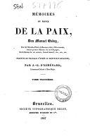 Memoires du prince de la paix, Don Manuel Godoy ... traduits en francais d'apres le manuscrit espagnol par J.-G. D'Esmenard
