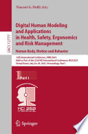 Digital Human Modeling and Applications in Health  Safety  Ergonomics and Risk Management Book
