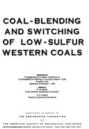 Coal blending and Switching of Low sulfur Western Coals Book