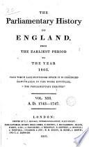 Cobbett s Parliamentary History of England  1743 1747