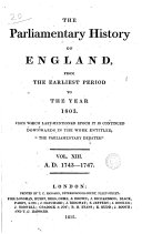 Pdf Cobbett's Parliamentary History of England: 1743-1747