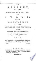 An Account Of The Manners And Customs Of Italy