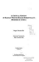 A Critical Edition of Haitian Writer Roger Dorsinville's Memoirs of Africa