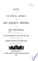 Acts of the General Assembly of His Majesty's Province of New Brunswick
