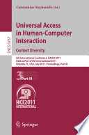Universal Access in Human Computer Interaction  Context Diversity Book