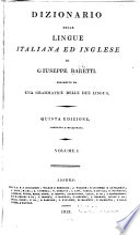 Dizionario delle lingue italiana ed inglese: Italiano ed inglese