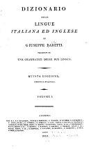 Dizionario delle lingue italiana ed inglese  Italiano ed inglese