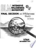 BLM Intensive Wilderness Inventory  Utah Book PDF