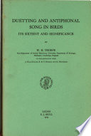 Duetting and Antiphonal Song in Birds