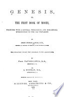 Genesis  Or The First Book of Moses Book PDF