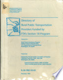 Directory Of Rural Public Transportation Providers Funded By Fta S Section 18 Program