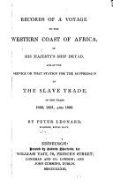Records of a Voyage to the Western Coast of Africa in His Majesty s Ship Dryad