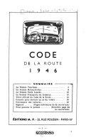 Code de la route, 1946. [Nouv. ed.]