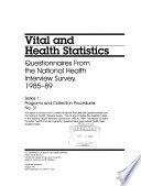 Questionnaires From The National Health Interview Survey 1985 89