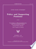 United States Government Policy and Supporting Positions, December 1,2016 (Plum Book)