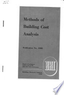 Methods of Building Cost Analysis
