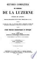 Oeuvres compl  tes du Cardinal de La Luzerne    v  que de Langres