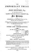 The Important Trial of John Mitford, Esq