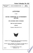 Activities of the House Committee on Government Reform