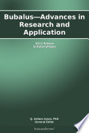 Bubalus   Advances in Research and Application  2013 Edition