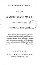 Considerations on the American war. Addressed to the people of England ebook