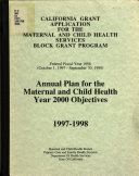 California Grant Application for the Maternal and Child Health Services  Block Grant Program