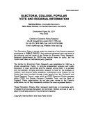 Electoral College, Popular Vote and Regional Information