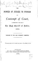 The Power of Judges to Punish for Contempt of Court