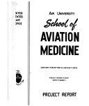 Report Usaf School Of Aerospace Medicine 21 27 001 1951 52