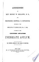 Addresses of Rev  H W  Bellows  and R D  Hitchcock Book