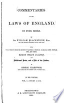 Commentaries On The Laws Of England In Four Books