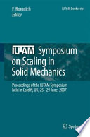 Iutam Symposium On Scaling In Solid Mechanics Book PDF