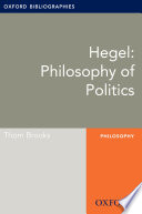 Hegel: Philosophy of Politics: Oxford Bibliographies Online Research Guide