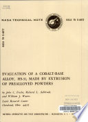 Evaluation of a Cobalt-base Alloy, HS-31, Made by Extrusion of Prealloyed Powders