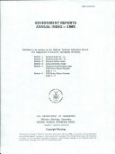 Government Reports Annual Index Book PDF