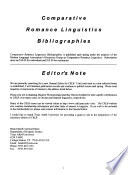 Comparative Romance Linguistics Newsletter