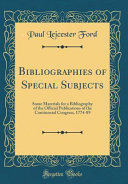 Bibliographies of Special Subjects